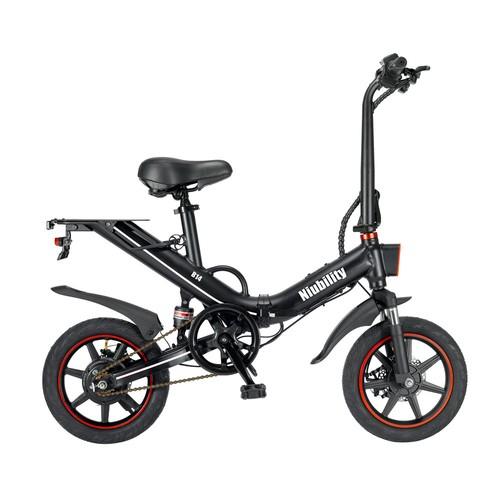 Niubility B14 Electric Moped Folding Bike 14 inch 15Ah Battery up to 100KM Mileage Max 25km/h 400W Motor Double Disc Brake - Black