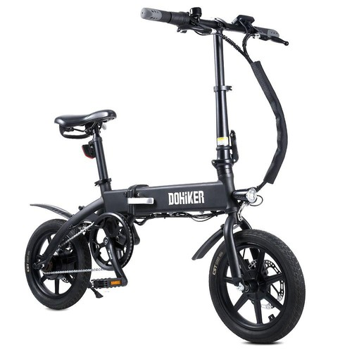"DOHIKER KSB14 Folding Electric Bicycle 36V 250W Brushless Motor 14"" CST Tire 10Ah Battery 25km/h City Bike LED Headlight Dual Disc Brakes Foldable Design - Black"