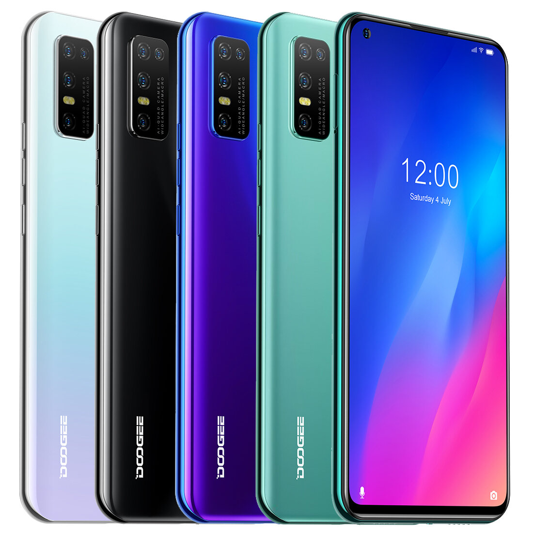 DOOGEE N30 Global Bands 6.55 inch Perforated Screen Android 10.0 4180mAh 16MP AI Quad Rear Camera 4GB 128GB Helio A25 4G Smartphone
