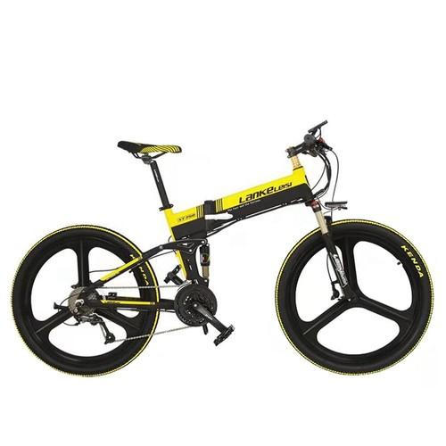LANKELEISI XT750 Elite Edition Folding Electric Bike Bicycle 48V 10.4AH 400W 26x1.95 Tires Aluminum Alloy Frame Max Speed 30km/h Shimano 7 Speed Derailleur 100KM Mileage Range - Black Yellow
