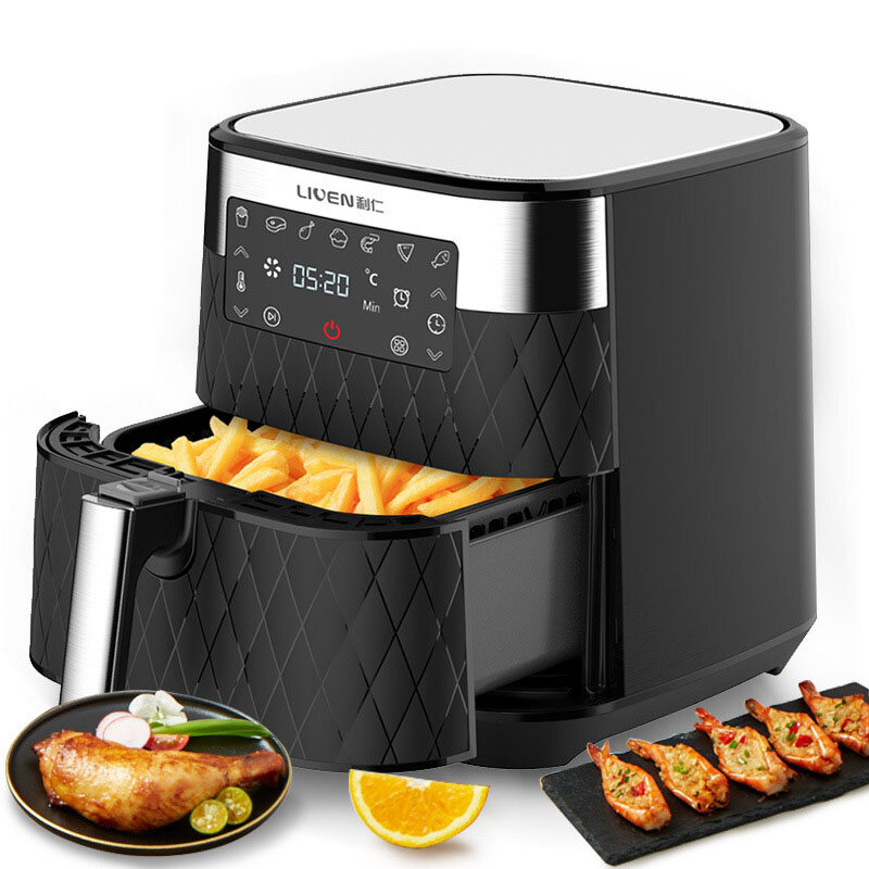 LIVEN KZ-D5500 Air Fryer 5.5L Large Capacity 1700W Electric Hot Air Fryers Oven Oilless Cooker LED Digital Touchscreen 360° Cycle Heating Nonstick Basket from Ecological Chain