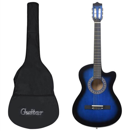 12 Piece Western Acoustic Guitar Set with 6 Strings Blue 38