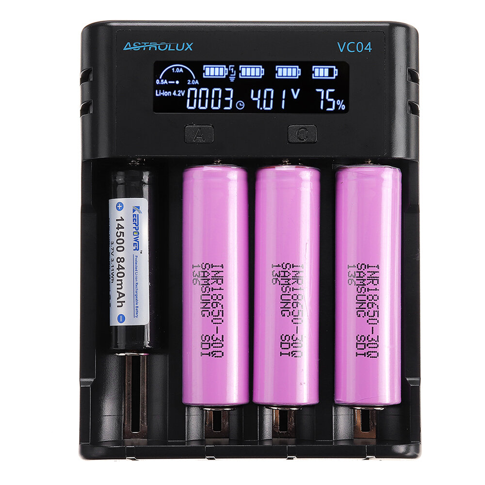 Astrolux® VC04 Micro Type-C 2A Quick Charge Li-ion Ni-MH Battery Charger Current Optional USB Charger For 18650 26650 21700 AA AAA Battery
