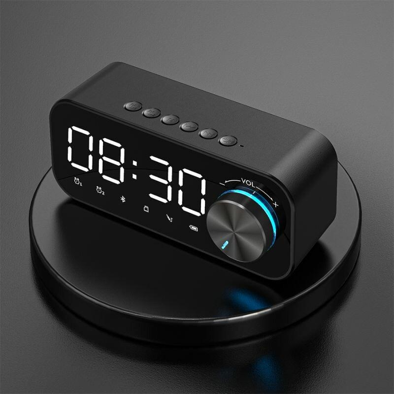 B126 bluetooth 5.0 Speaker Alarm Clock Night Light Multiple Play Modes LED Display 360° Surround Stereo Sound 1800mAh Battery Life