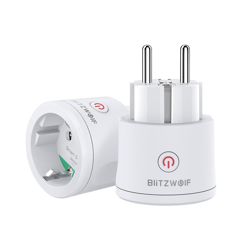 BlitzWolf® BW-SHP10 3680W 16A Smart WIFI Socket EU Plug Switch Metering Remote Controller Timer Work with Alexa Google Assistant BW Tuya APP