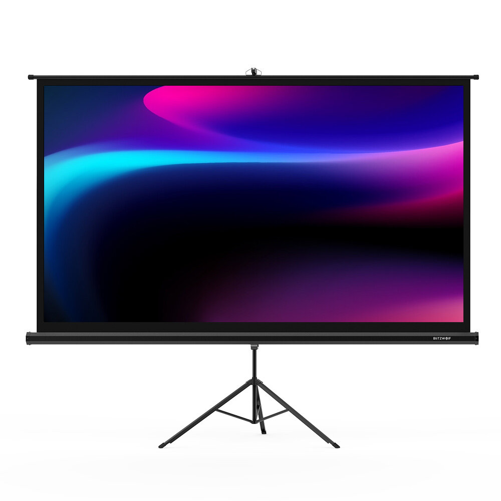 BlitzWolf® BW-VS1 Bracket Projector Screen Beamer Curtain 100-Inch 1080P Full HD with Stand 16:9 3D Display White Plastic Projector Curtain with Large Screen Steady Tripod 160° Viewing Angle for Movies Home Theater Outdoor Indoor