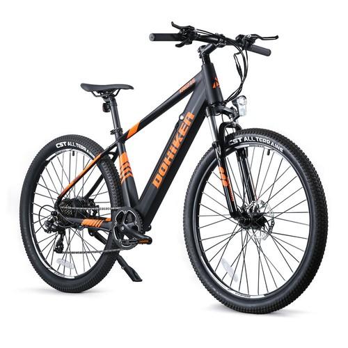 "DOHIKER 27.5"" Anti-slip Tire Electric Bike 250W 36V 10Ah Lithium-ion Battery 25km/h Shimano 7 Speed Gears Disc Brakes Bright Headlight - Black"