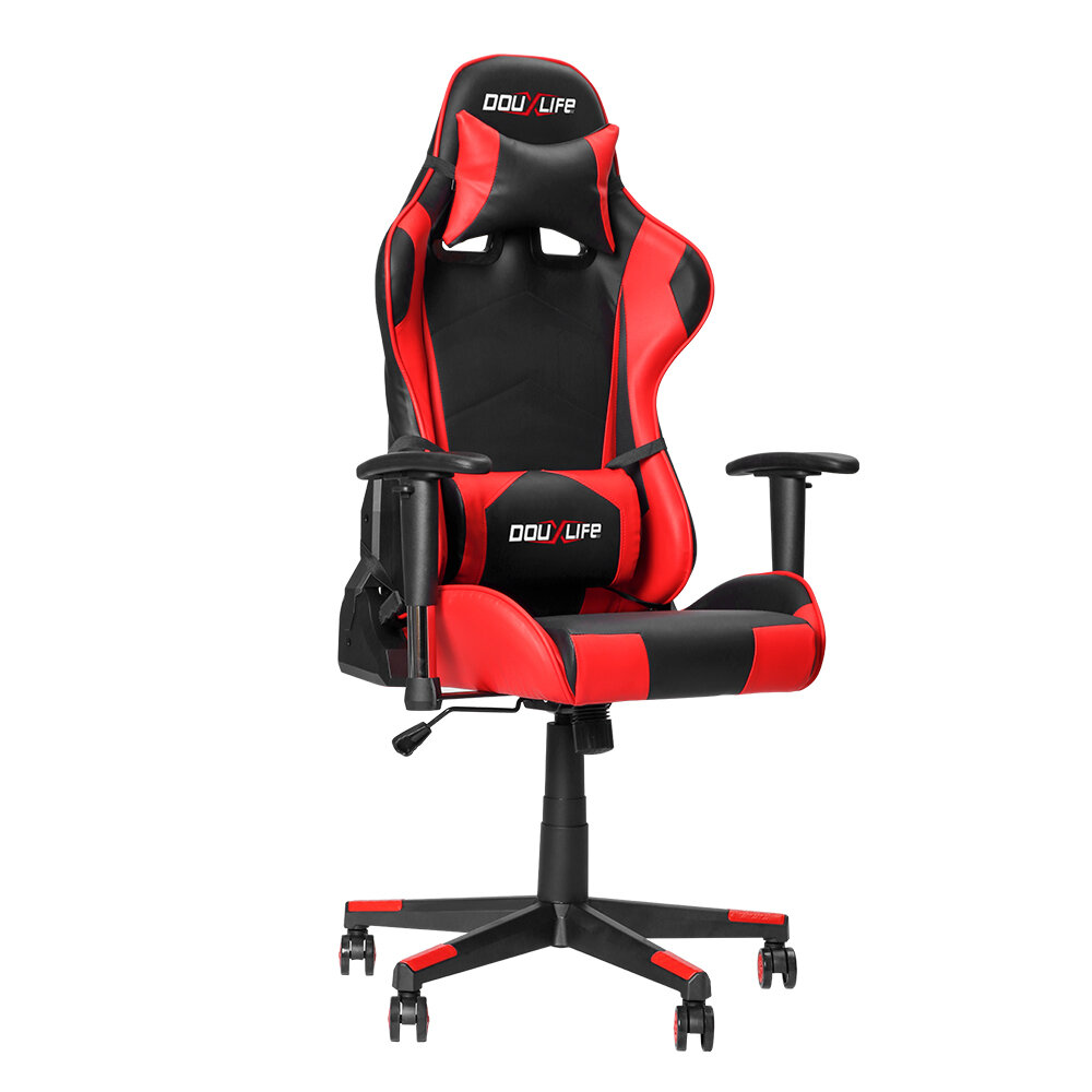 Douxlife® Racing GC-RC01 Gaming Chair Ergonomic Design 180°Reclining with Thick Padded High Back Added Seat Cushion 2D Ajustable Armrest for Home Office