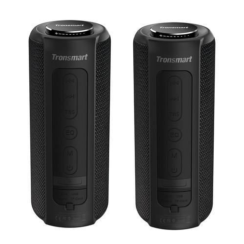 [2 Packs] Tronsmart Element T6 Plus Portable Bluetooth 5.0 Speaker with 40W Max Output, Deep Bass, IPX6 Waterproof, TWS - Black