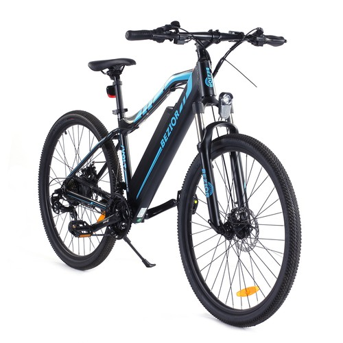 BEZIOR M1 Electric Bike 48V 12.5Ah Battery 250W Brushless Motor 27.5 inch Tire Aluminum Alloy Frame Shimano 5-speed Shift Max Speed 25km/h 80KM Power-assisted mileage Range 5 inch Smart LCD Meter IP54 Waterproof - Black Blue