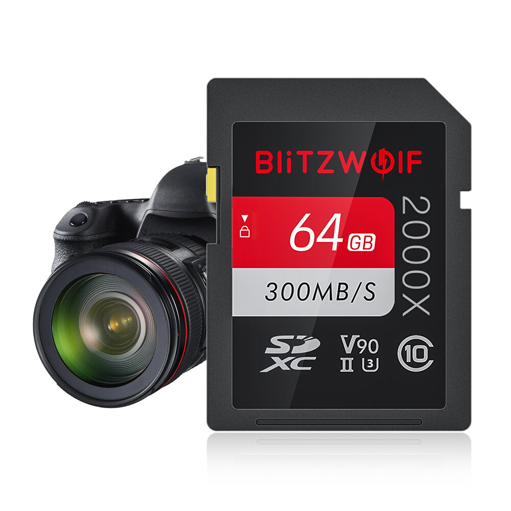 BlitzWolf®BW-SDC1 UHS-II SD Memory Card U3 C10 V90 32GB 64GB 128GB Data Storage Card for MILC SLR Camera Driving Recorder