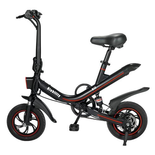 NIUBILITY B12 Electric Bicycle Pedal Assist Commuting Bike 7.8Ah Battery 350W Motor 25-30KM Travel mileage 12-inch Wheel 25Km/h Disk Brake Dual suspension - Black