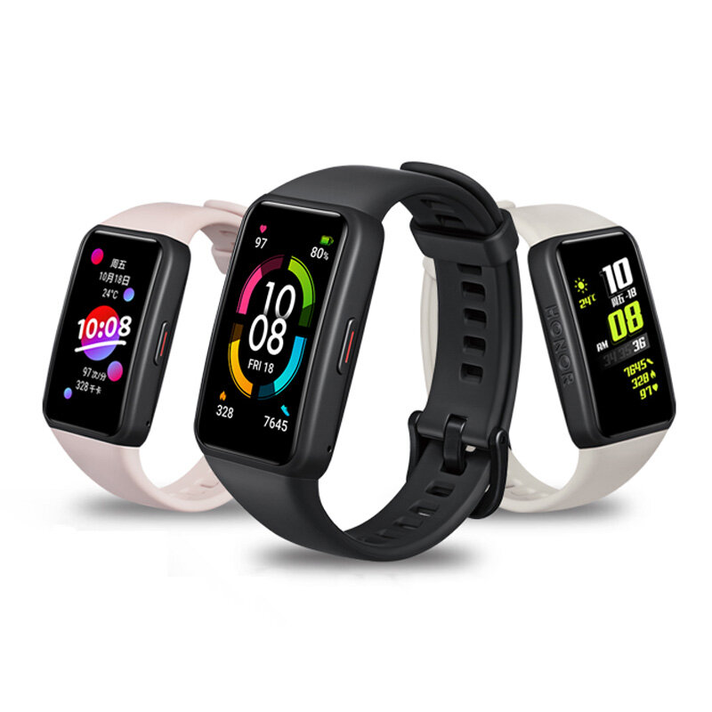 Original Honor Band 6 1.47 inch AMOLED Touch Screen 10 Kinds of Professional Sports Fitness Tracker Heart Rate Blood Oxygen Monitor Long Standby Smart Watch