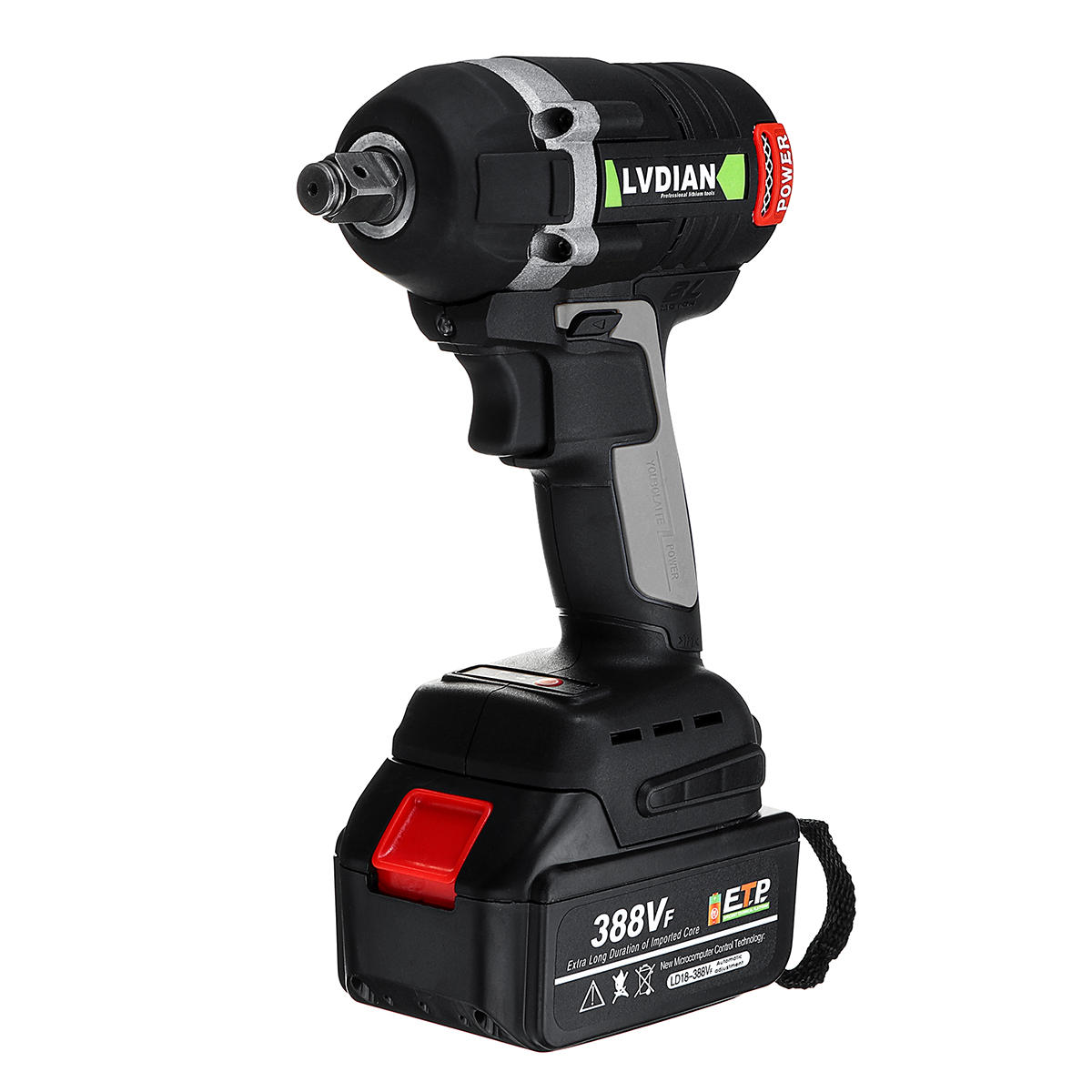 388VF 630N.m Max Brushless Impact Wrench Li-ion Battery Brushless Motor Electric Wrench Power Tool