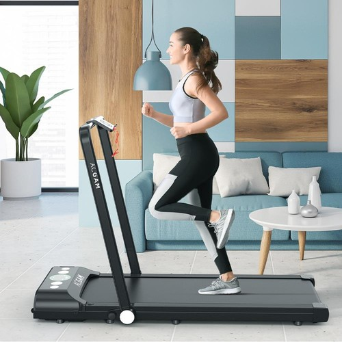 ACGAM B1-402 Portable Treadmill Smart Walking Machine 2 in 1 Jogging and Running Outdoor Indoor Fitness Training Gym Equipment Installation-Free Built-in Bluetooth Speaker with Wheels, Remote Control for Home, Office - Black