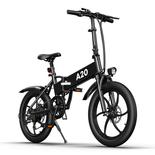 ADO A20 Electric Folding Bike 20 inch City Bicycle 350W Hall Brushless Gear DC Motor SHIMANO 7-Speed Rear Derailleur 36V 10.4Ah Removable Battery 35km/h Max speed up to 60km Max Range IPX5 Double Shock-absorption Aluminum alloy Frame - Black