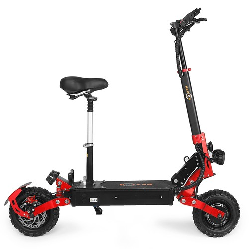 Bezior S2 Folding Electric Scooter 1200W*2 Dual Motor LCD Display Max 65Km/h 11 Inch Off-Road Tire 21Ah Battery Dual Shock Mitigation Dual Disk Brake LED Light - Red
