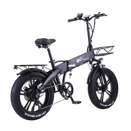 CMACEWHEEL GT20 Pro Folding Electric Moped Bike CST 20*4.0 Fat Tire Five Speeds 750W Motor 48V 10Ah Battery 40km Range Max Speed 45km/h Aluminum Alloy Body Dual Battery Version - Black