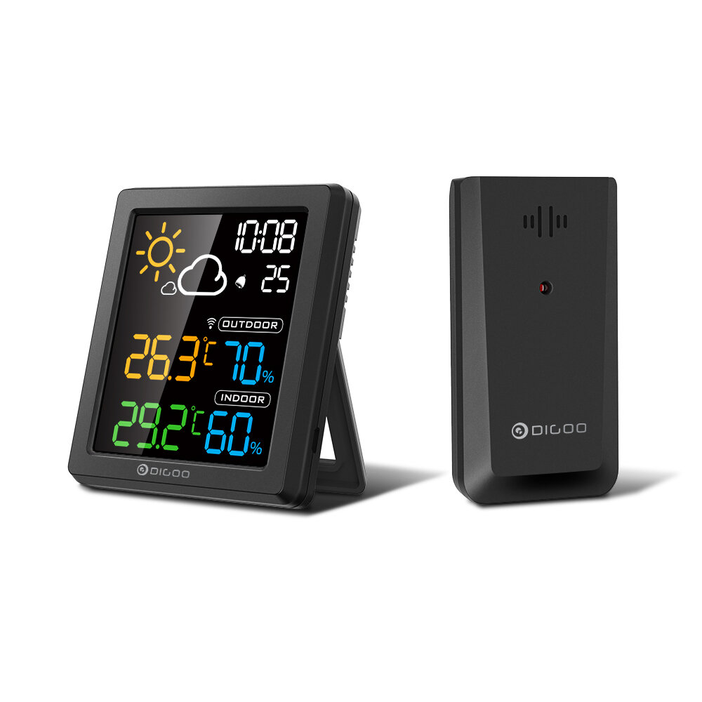 DIGOO DG-8647 Mini HD Color Screen LCD Weather Station Alarm Clock Smart Hygrometer Thermometer Snooze Dual Desktop Clock