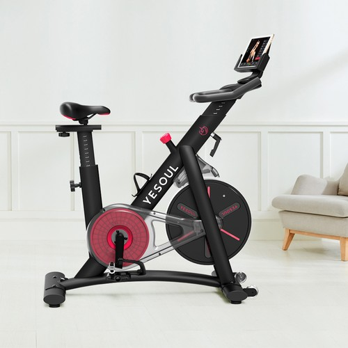 Yesoul S3 Belt drive Spinning Bike Cycling Exercise Fitness Bike Adjustable Height for Indoor Workout APP Support Ios Android - Black
