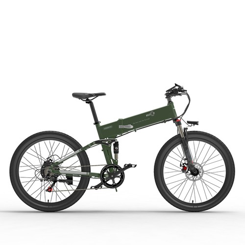 BEZIOR X500 Pro Folding Electric Bike Bicycle 48V 10.4Ah Battery 500W Motor 26 inch Tire Aluminum Alloy Frame Shimano 7-speed Shift Max Speed 30km/h 100KM Power-assisted mileage Range LCD Display IP54 waterproof - Black Green