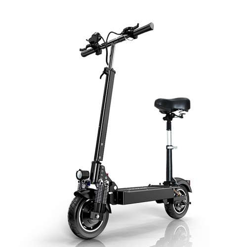JANOBIKE T10 Pro Folding Off-Road Electric Scooter 10 inch 23Ah Battery 1200W * 2 Motor 10 Inch Wheels Aluminum Alloy Body Max Speed 70km/h up to 80KM Range Hydraulic brake with seat - Black