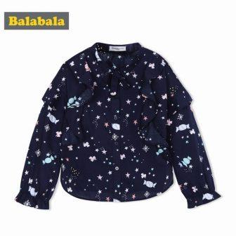 Balabala 2018 Fashion Blouses For Girls Clothing Cotton butterfly neck Girls Shirts...