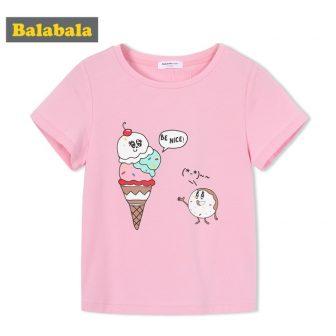 Balabala 2018 summer Children's clothing girls tshirt enfant cute T-shirt toddler fashion...