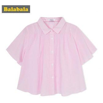Balabala 2018 summer shirt for girls Children clothing cotton fashion half Sleeve...