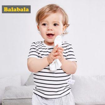 Balabala Baby Boys Funny Cartoon Detachable Bib T shirts 2018 Summer Short...