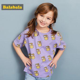 Balabala children 2018 t-shirts for girls Children clothing kids lovely Girl tshirts...