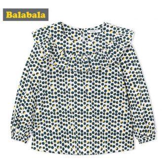 balabala Children Girls 2018 New Autumn tShirts Cotton Polka-dot Kids Girl t-Shirt...