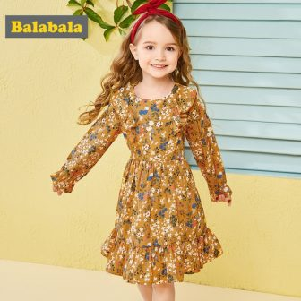 Balabala cotton floral dress for girls with round neck and ruched dresses...