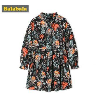 Balabala floral dress autumn clothing for toddler girl Long Sleeve with beautiful...