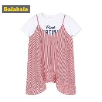 Balabala Girls Fake Two Piece Graphic T-shirt + Sleeveless Striped Dress with...