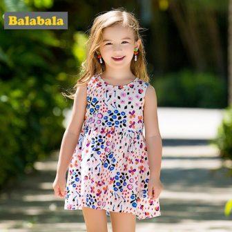 Balabala girls Floral dresses cute cotton Sleeveless dress for baby girl children...
