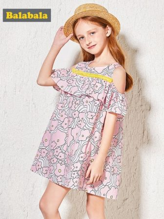 Balabala Girls Open Shoulder Dress with Flounce at Top Teenager Girls Print...