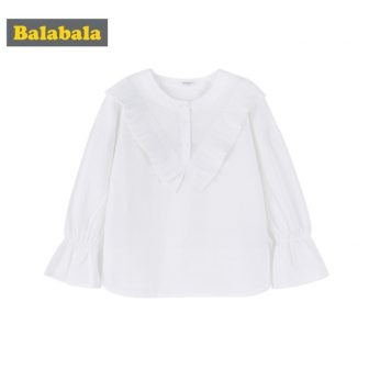 Balabala Girls Pleated-Trim Blouse with Bell Sleeves Teenagers Girls 100% Cotton Cute...