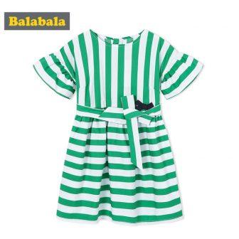 Balabala Girls Short Sleeve Dress Striped Dress with Trumpet Sleeve A-line Dress...