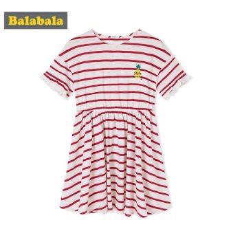 Balabala Girls Short Sleeve Dress with Flared Striped A-line Dress Ruffle Trim...