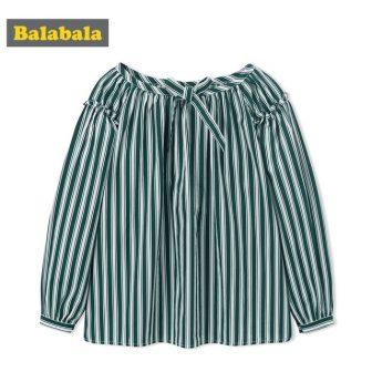 Balabala Girls Striped Blouse Long Sleeves with Ties Teenager Girls 100% Cotton...