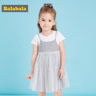 Balabala princess dress kids for girl Fashion Summer Girl Dress 2pcs set...