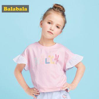 Balabala Summer fashion children tshirts for girls cotton cute letter pattern t-shirt...