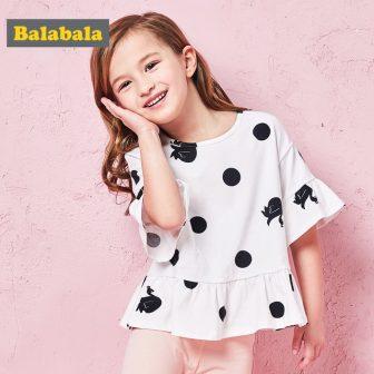 Balabala Summer T Shirt for girls pure cotton flare Short Sleeve Baby...