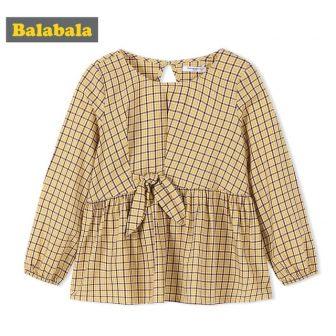 Balabala Toddler Girl Checked Blouse with Flare Trim Children Kids Girls 100%...
