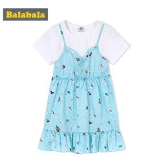 Balabala Toddler Girl Fake Two Piece Short Sleeve T-shirt + Sleeveless Floral...