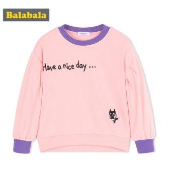 Balabala Toddler Girl Graphic T-shirts Sweatshirts Children Kids Girl Puff-Sleeved T-shirt Tops...