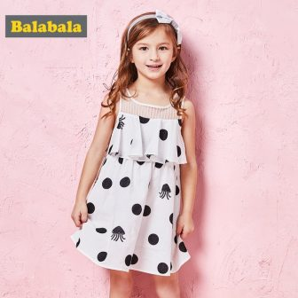 Balabala Toddler Girl Max-Fabric Sleeveless Dress with Flounce at Top Girls Polka...