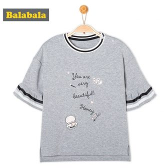 Balabala Toddler Girls Graphic Short Bell-Sleeved T-shirts with Contrasted Crewneck and Cuffs...