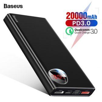Baseus 20000mAh Power Bank USB C PD Quick Charge 3.0 20000 Poverbank...